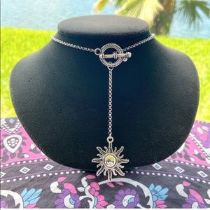 Sun lariat toggle necklace stainless steel chain